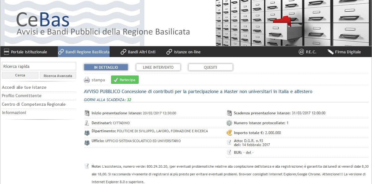 Contributi per la partecipazione a Master non universitari in Italia e all'estero