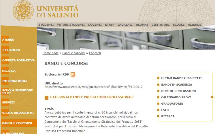 Bando per 10 esperti settore turismo dell'Università del Salento