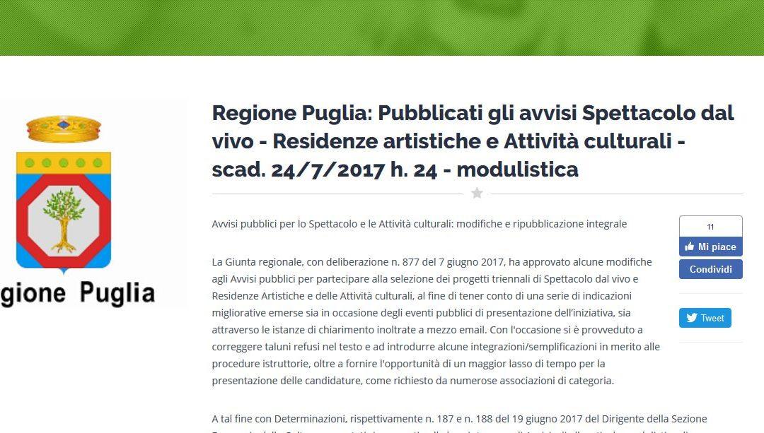 Regione Puglia: pubblicati gli avvisi Spettacolo dal vivo – Residenze artistiche e Attività culturali