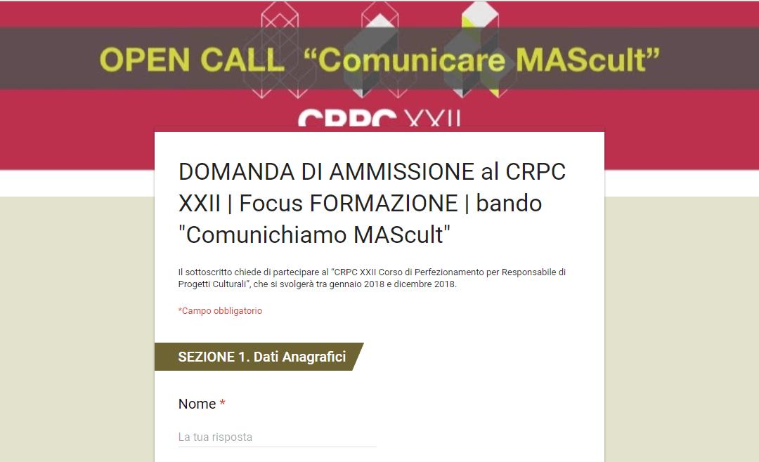 """Bando """"Comunichiamo MAScult"""" per responsabili di progetti culturali"""